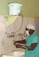 Scrubbing up at Evangel Hospital, Kenya